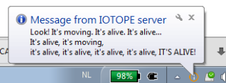 First message from IOTOPE server